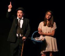 Eureka! Charlie Alison as Chaplin and Rachel Hill as a blind girl needing Obamacare.