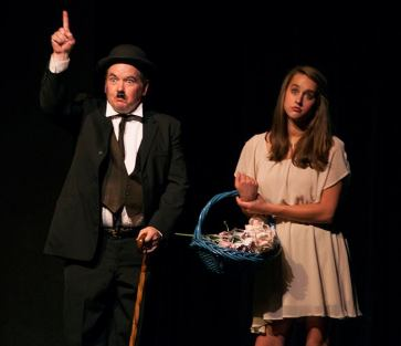 Eureka! Charlie Alison as Chaplin and Rachel Hill as a blind girl needing Obamacare.