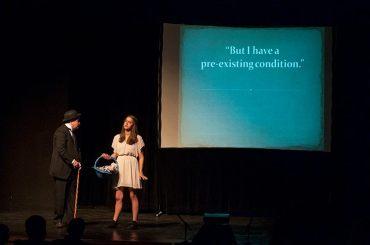Charlie Alison as Charlie Chaplin and Rachel Hill as the blind girl.