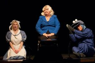 Vivian Cummings as Alice, Katherine Shurlds as Hillary and Flip Putthoff as Grover.