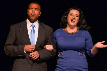 Justin Stewart and Cassidy Hodges as the Obamas.