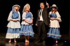 Ray Minor as Mark Pryor with the Backup Belles, Channing Barker, Olivia Jones and Rebecca Soard.