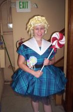 Erin Spandorf, back stage, before her role as Shirley Temple singing about the Good Ship U of A.