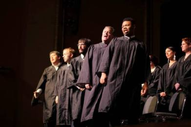 The five conservative-leaning justices of the Supreme Court take their turn in song.