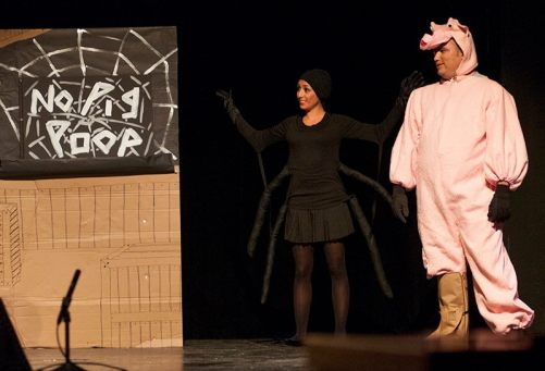 Antoinette as Charlotte and Tony Hernandez as Wilbur in a sketch about the Buffalo River hog farm.