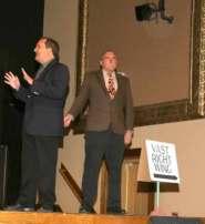 Greg Harton as tour guide Skip Rutherford and Rusty Garrett as a wooden Al Gore.