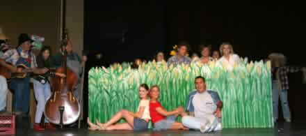 The cast of Hee Haw in the cornfield.