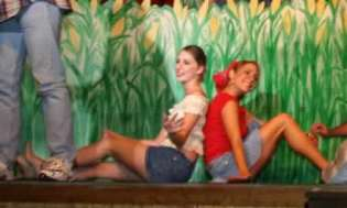 Trysta Eakin and Hailey Bonnell in the cornfield.