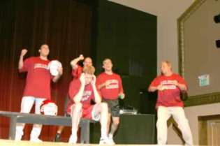 The cast trying to convince Coach Houston Nutt to call a pass play.