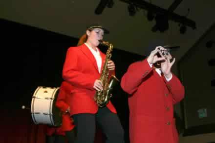 Laura Bruegge on saxophone.