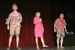 Dusty Higgins as John Kerry, Cassandra Garnas as Jane Pauley and Charlie Alison as George W. Bush.