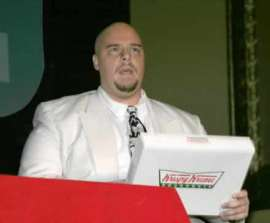 Mark Young, ready to unload some Krispy Kreme donuts.