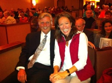 Gov. Mike Beebe and professor Janine Parry.