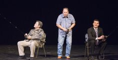 The Bushes – Ray Minor as George H.W., Charlie Alison as George W., and Brantly Houston as Jeb – take up fishing.