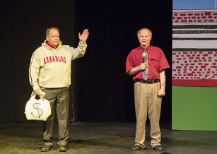 Charlie Alison plays athletic director Jeff Long as Dave Edmark plays a sportscaster.