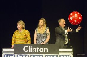 In Family Feud, Katherine Shurlds plays Hillary Clinton, Sarah Van Doorn plays Chelsea, and Charlie Alison plays Bill.