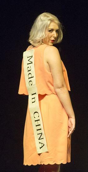 Julia Trupp as Ivanka Trump shows off her new fashion line.