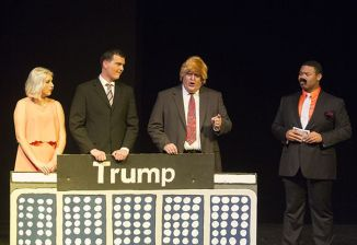 In Family Feud, the Trump clan includes Julia Trupp as Ivanka, Brantly Houston as Donald Jr. and Rusty Turner as President Trump.