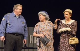 In a Mayberry scene, Rusty Turner, Brenda Blagg and Stacey Roberts.