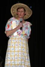 Gina King as Minnie Pearl in a sendup of Hee Haw.