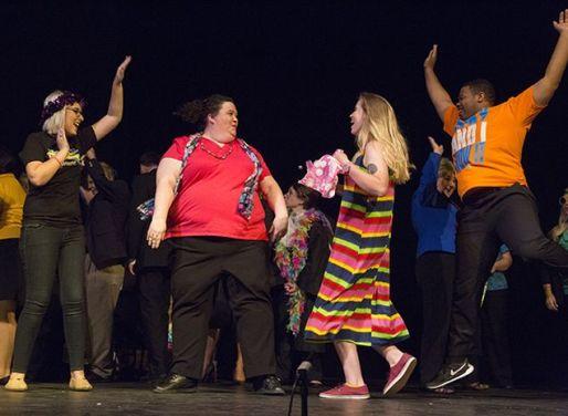 Julia Trupp, Britt Graves, Sarah Van Doorn and DeMarius Davis as party-goers.