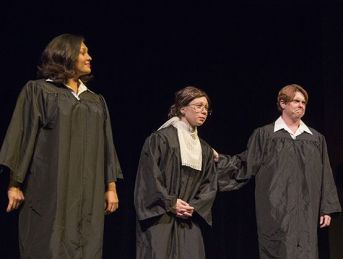 In a skit about the end of the Obama White House, Samantha Herrera, Erin Spandorf and Sarah Warnock play Supreme Court justices.
