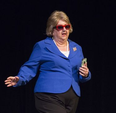 In a skit about the end of the Obama White House, Katherine Shurlds plays Hillary Clinton.