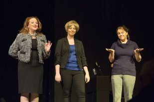 Stacey Roberts, Rebecca Soard and Brooke McNeely Galligan play politicians.