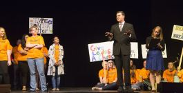 Rep. Steve Womack, played by Brantly Houston, tries to quiet the masses.