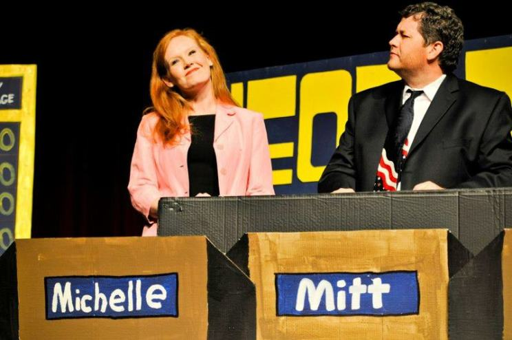 The clue is Robyn Starling-Ledbetter and Ray Minor, and the answer is who played Michelle Bachman and Mitt Romney in Gridiron's version Jeopardy.