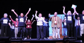 The cast during the opening sketch.