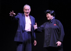 Steve Voorhies as Vladimir Putin and Brenda Blagg as Kim Jong Un.