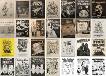 A mosaic of program covers from the 1978 Gridiron to the 2018 Gridiron