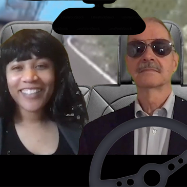 Actors as Kamala Harris and Joe Biden driving down the highway.