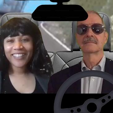 Actors as Kamala Harris and Joe Biden driving down the highway.
