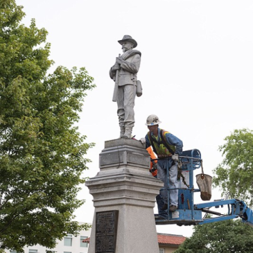 The Bentonville Confederate statue in preparation for removal.