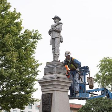 The Bentonville Confederate statue in preparation for removal.